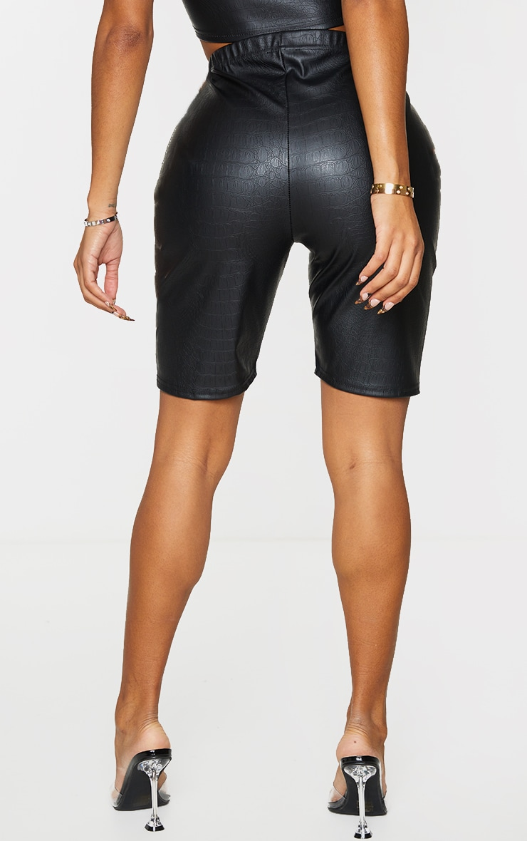 Shape Black Croc Embossed PU Bike Shorts 3