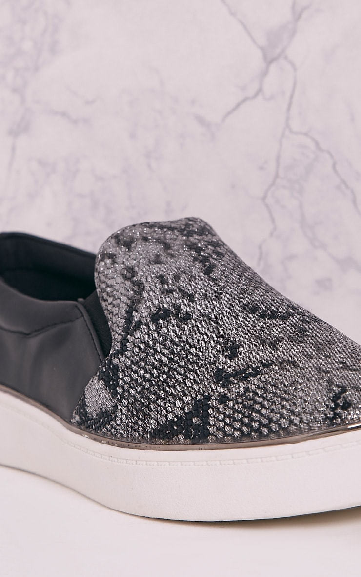 Ania Grey Faux Snake Skin Slip On Trainers 5