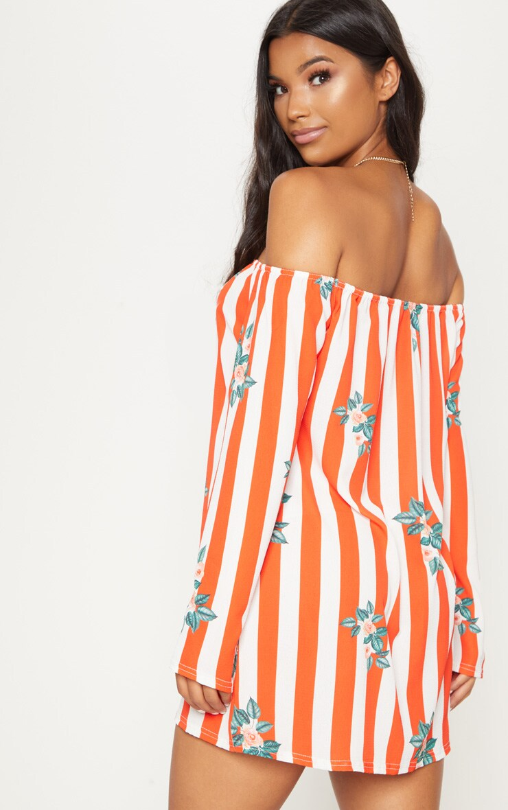 Red Stripe Floral Print Bardot Flare Sleeve Smock Dress 2