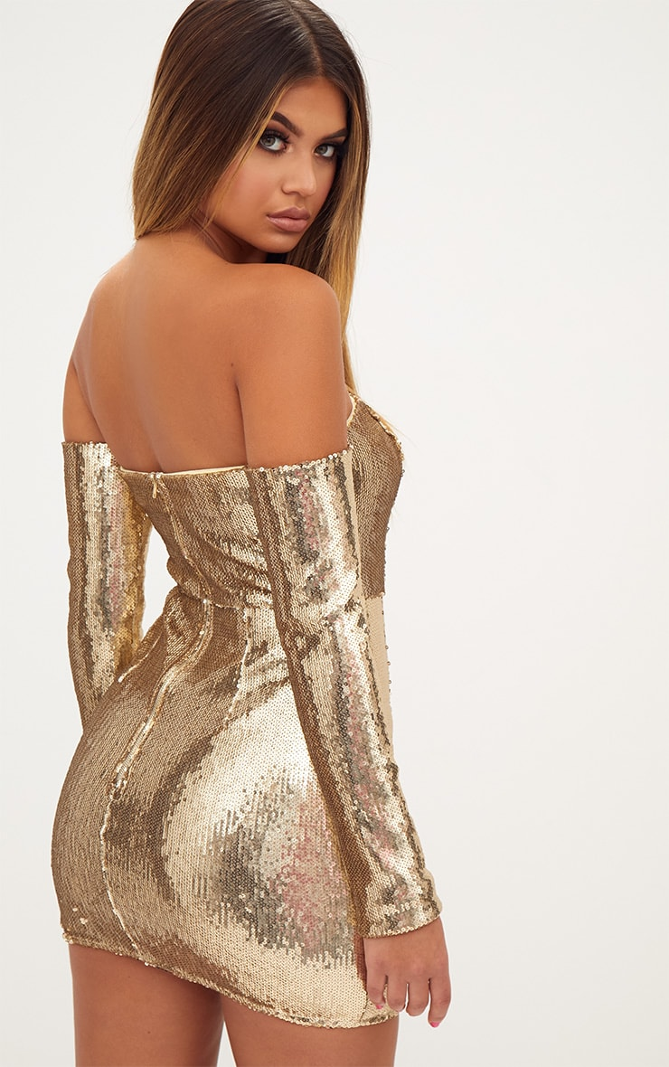 Gold Sequin Long Sleeve Bardot Bodycon Dress 3