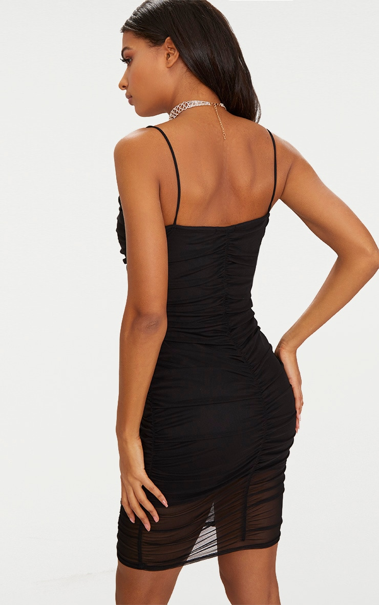 Black Mesh Ruched Panel Detail Bodycon Dress 2