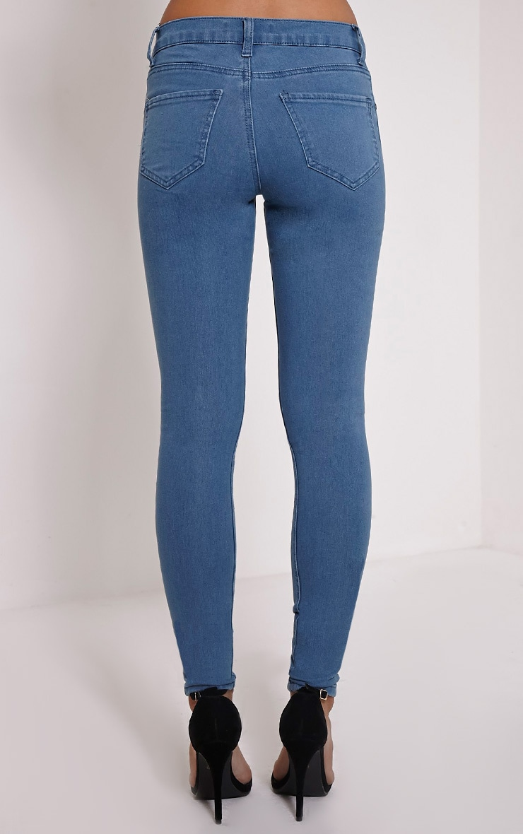 Ulyana Blue Mid Wash Knee Slit Skinny Jeans 3