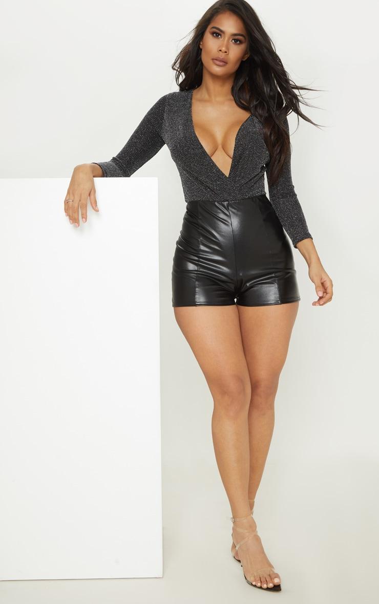 Black Extreme Plunge Long Sleeve Glitter Bodysuit 5