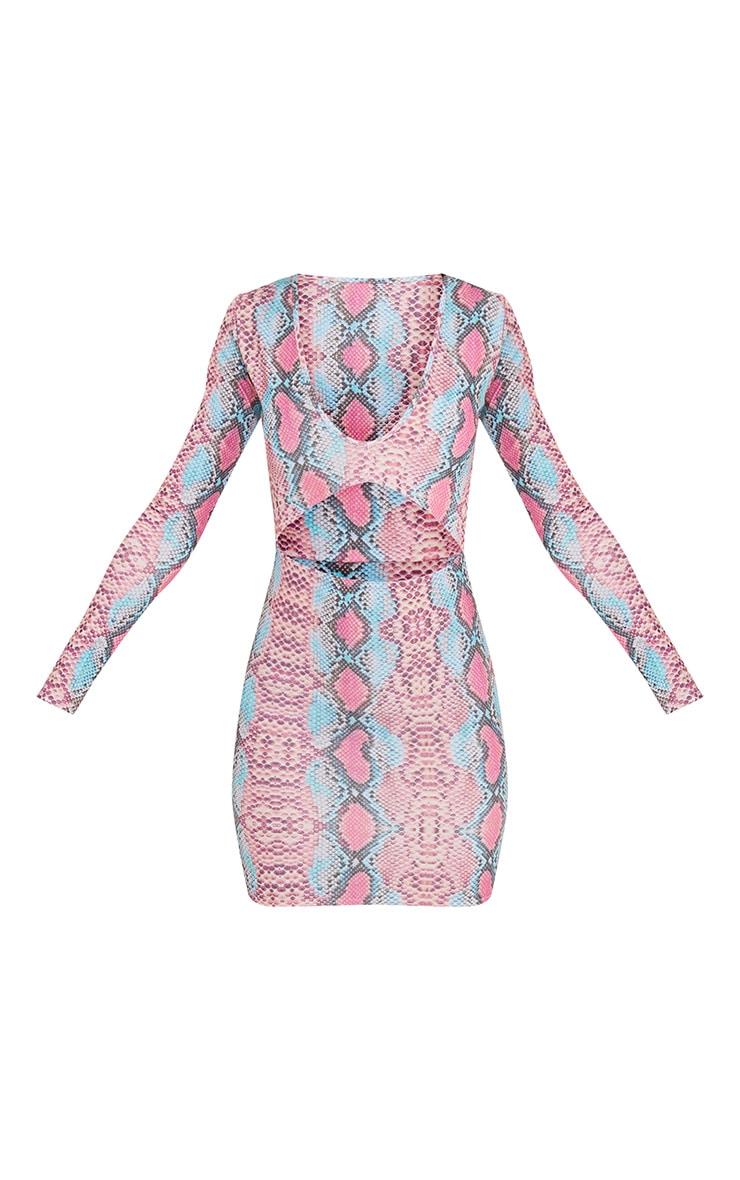 Elsiah Pink Snake Print Cut Out Bodycon Dress 4