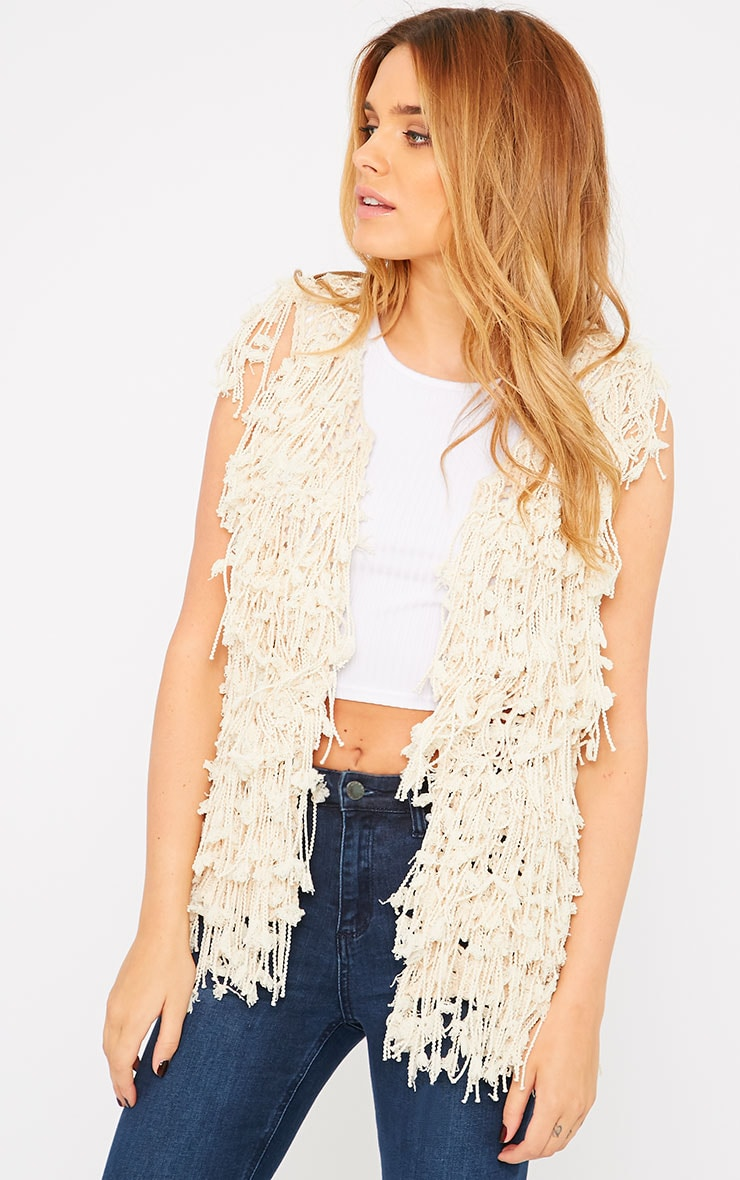 Reyna Cream Shaggy Knit Gilet  4