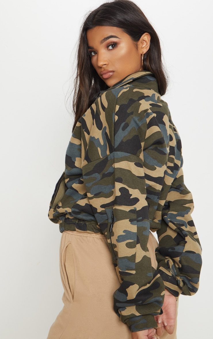 Green Camo Oversized Zip Front Sweater 2