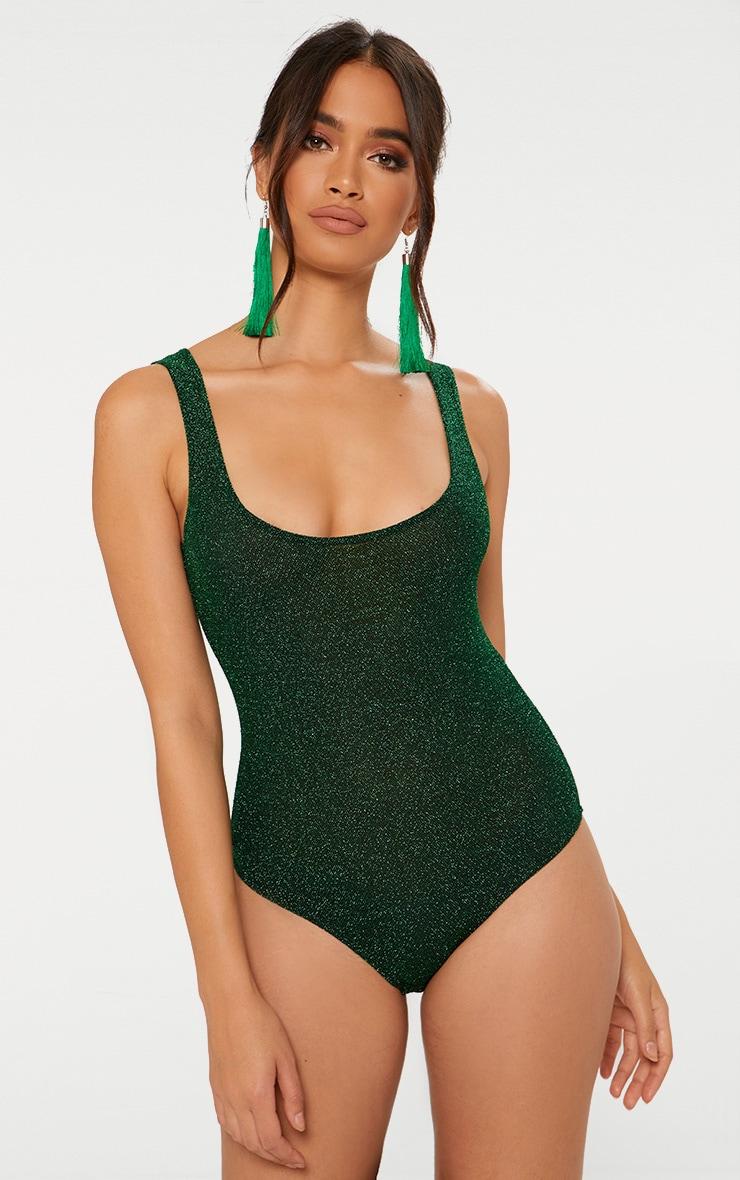 Green Glitter Square Neck Thong Bodysuit  2