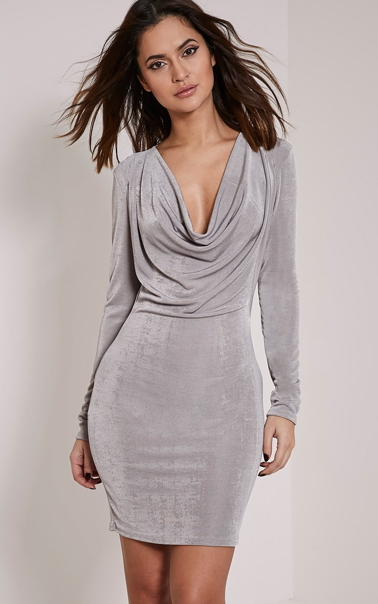 Rona Grey Cowl Neck Bodycon Dress 1