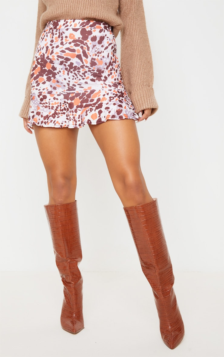 Beige Abstract Animal Print Flippy Hem Mini Skirt 2