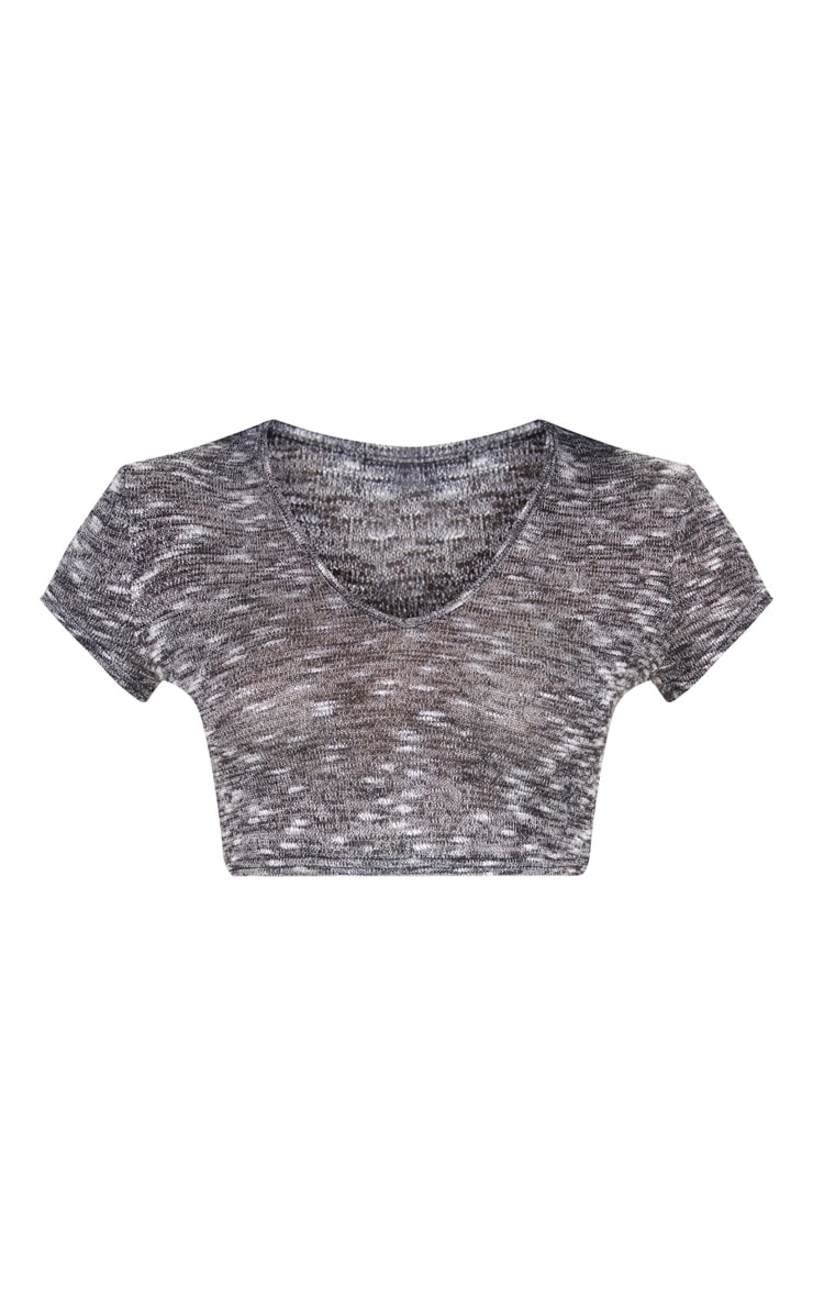 Charcoal Knitted V Neck Short Sleeve Top  3