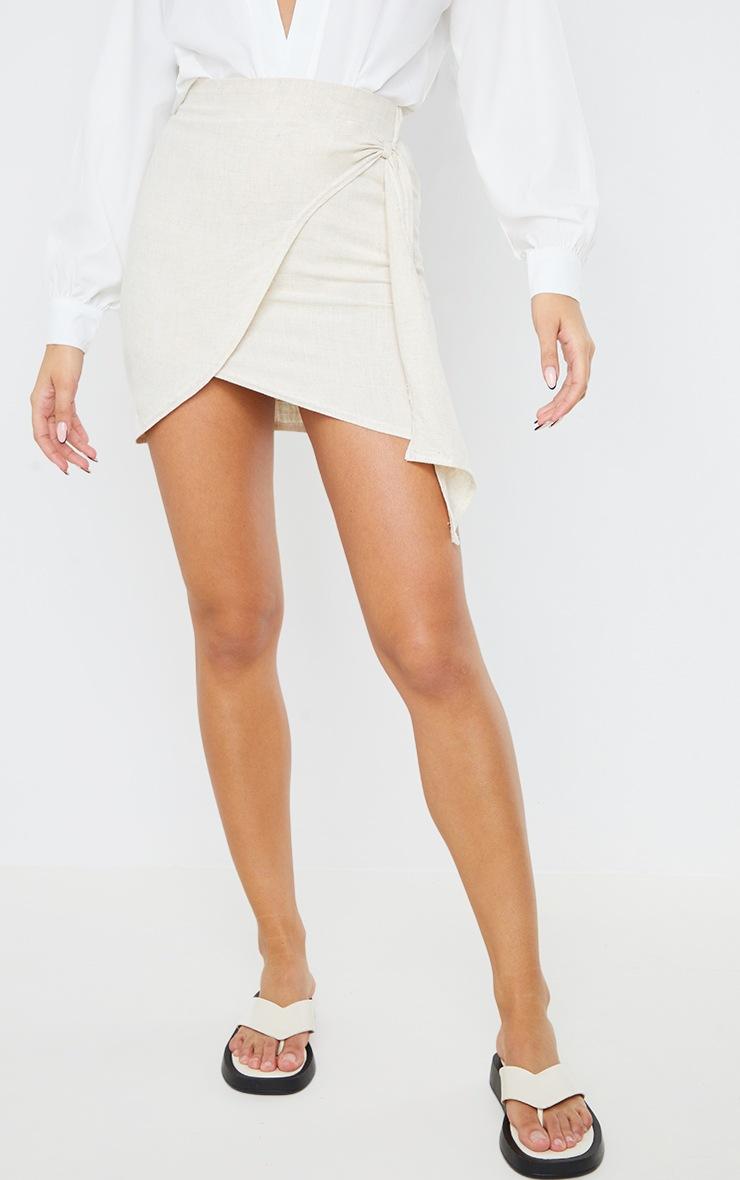 Stone Linen Look Wrap Skirt 2