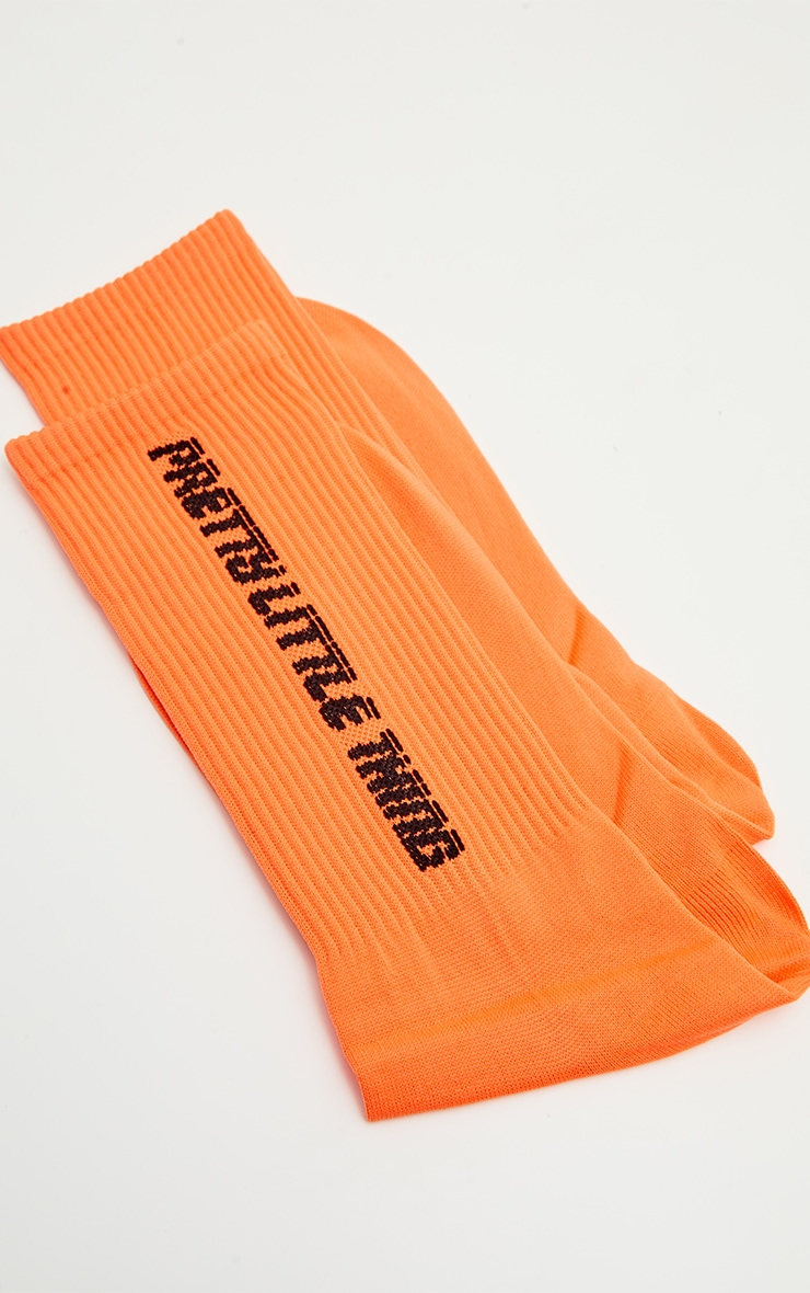 PRETTYLITTLETHING Neon Orange Logo Socks 3