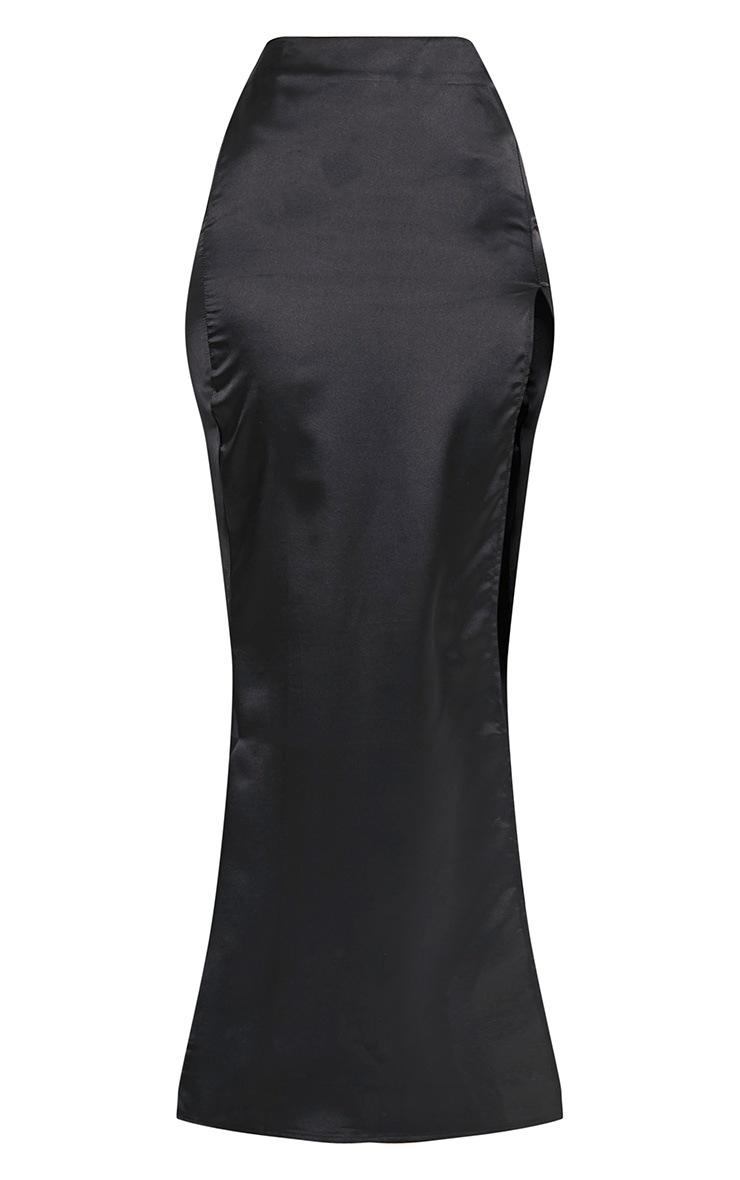 Harleigh jupe maxi fendue en satin noire 3