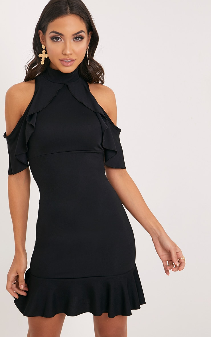 Adley Black Frill Detail Crepe Bodycon Dress 1