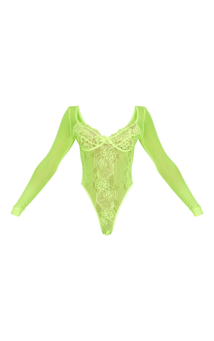 Neon Lime Long Sleeve Lace Insert High Leg Cupped Body 7