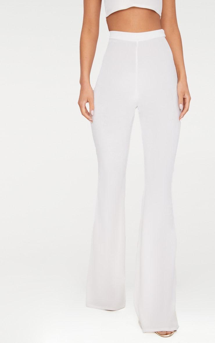 Cream Velvet Flared Trousers 2