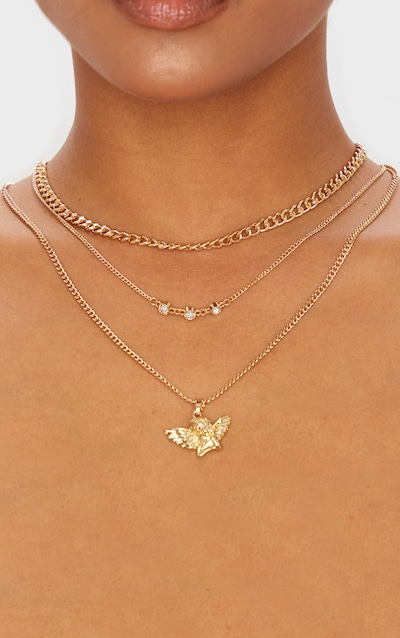 Gold Cherub And Diamante Row Triple Layering Necklace