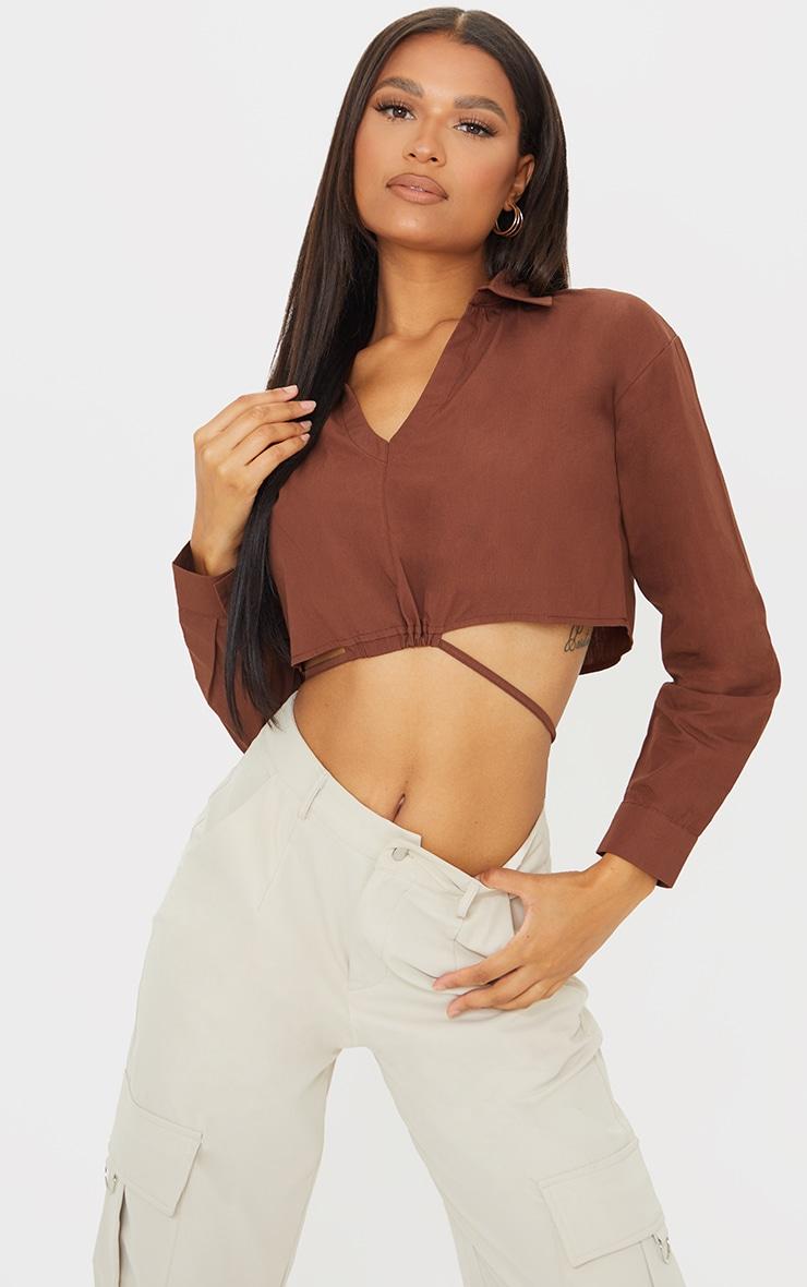 Chocolate Cotton Crop Tie Waist Long Sleeve Shirt 1