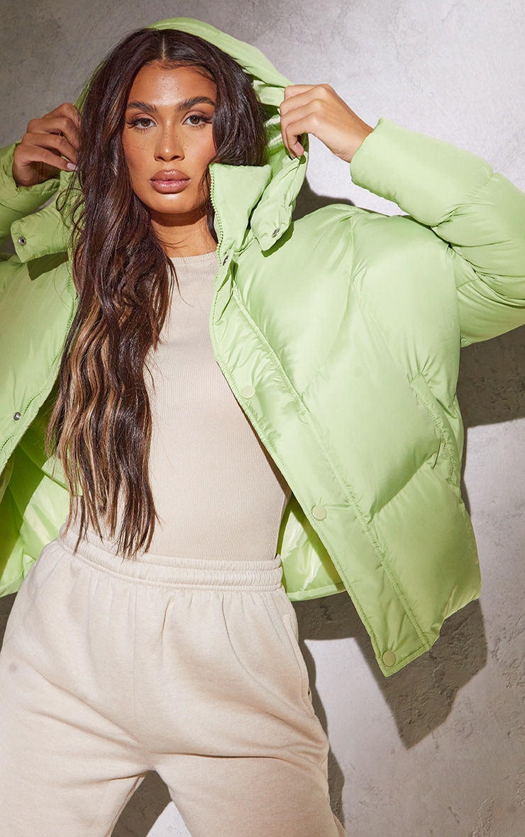RENEW Tall Sage Green Nylon Oversized Curved Panel Puffer Jacket 4