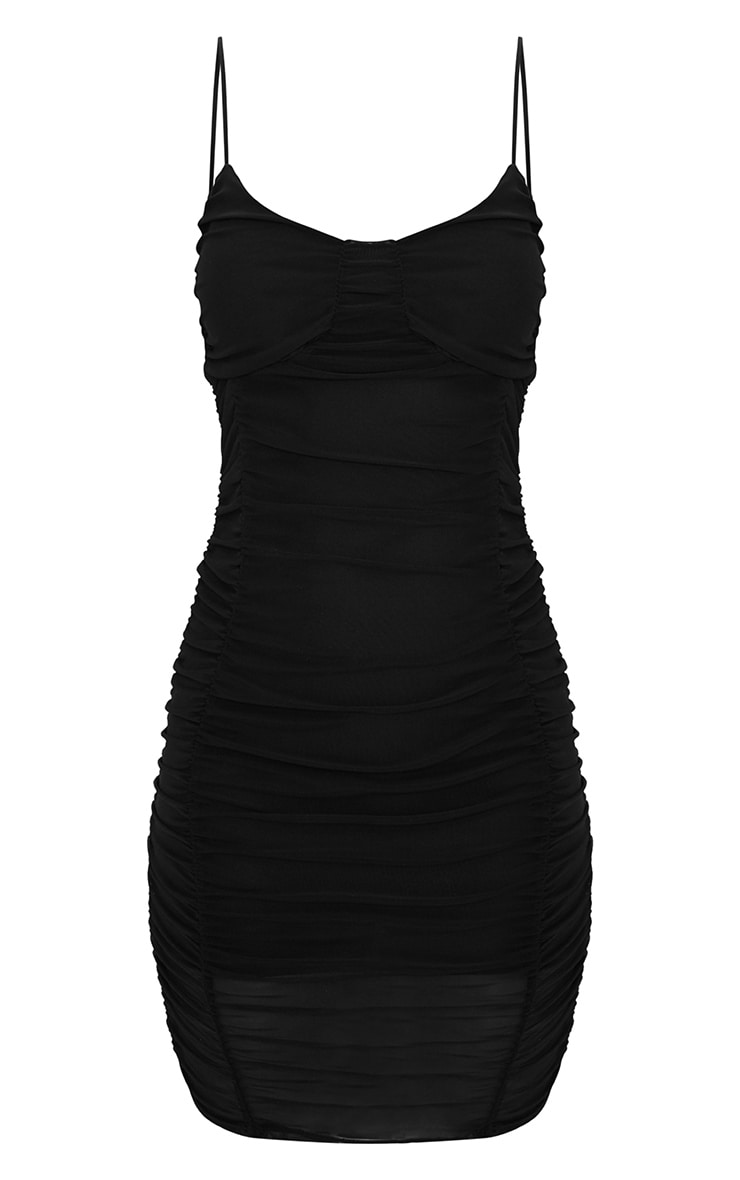 Black Mesh Ruched Panel Detail Bodycon Dress 3