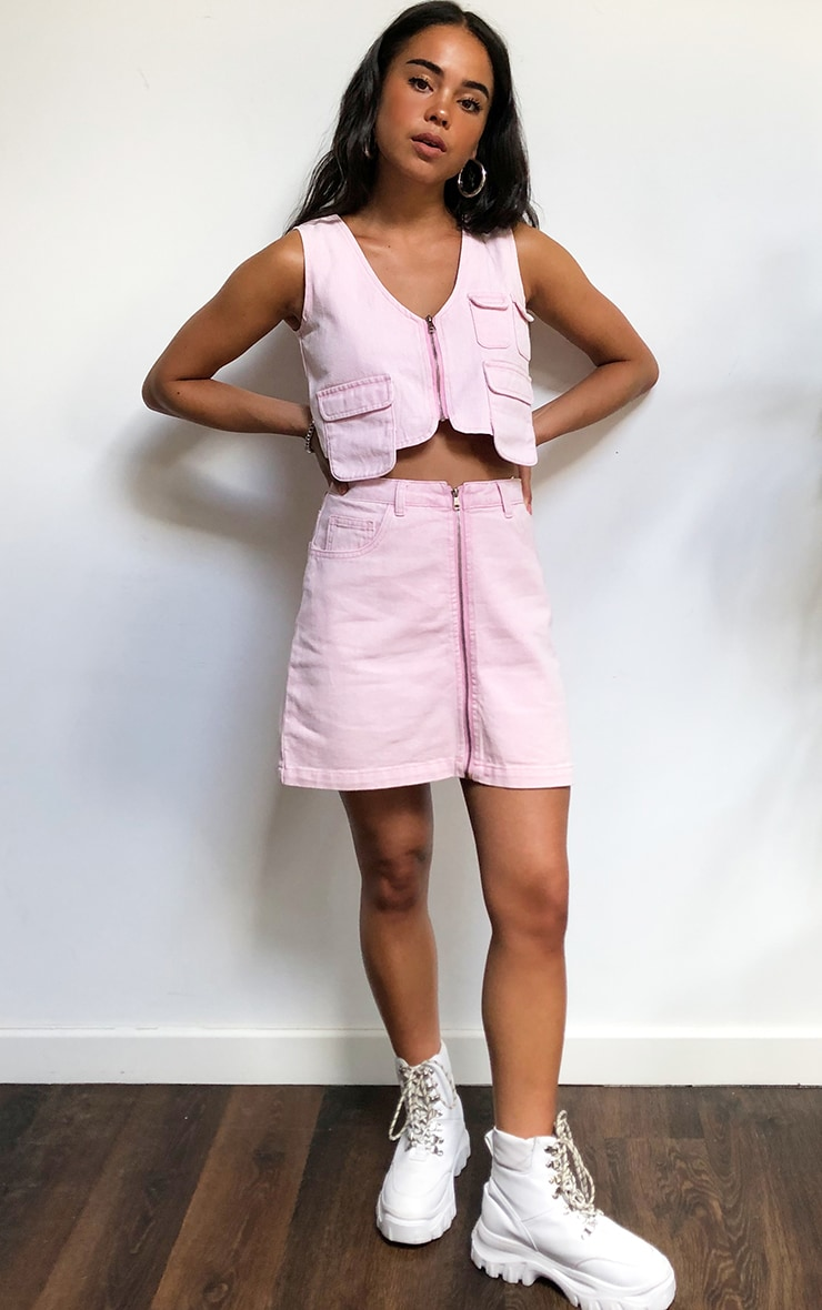 Washed Pink Denim Zip Skirt 2