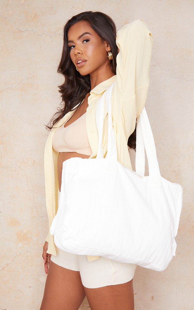 PRETTYLITTLETHING White Ribbed Oversized Tote Bag 1