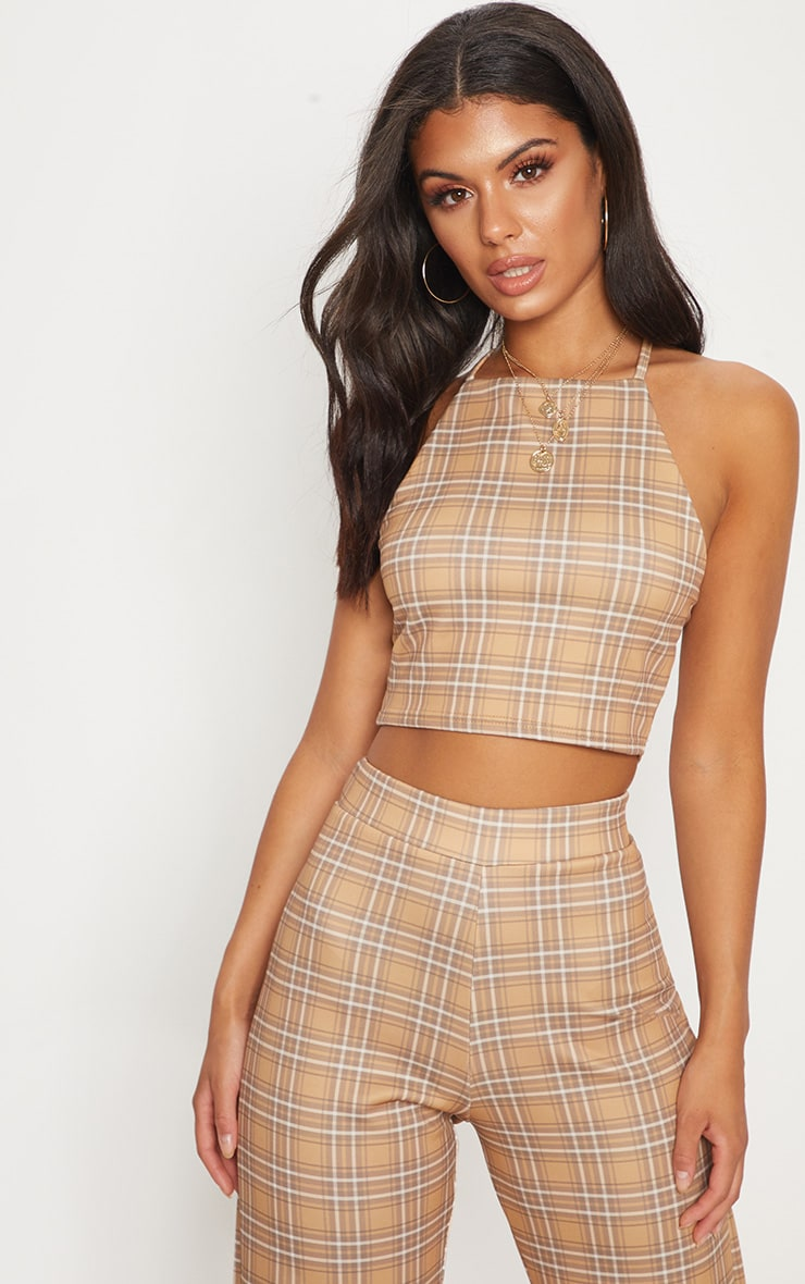 Camel Check Strappy Cross Back Crop Top 2