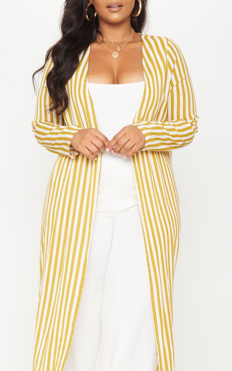 Plus Chartreuse Striped Longline Duster Jacket 5