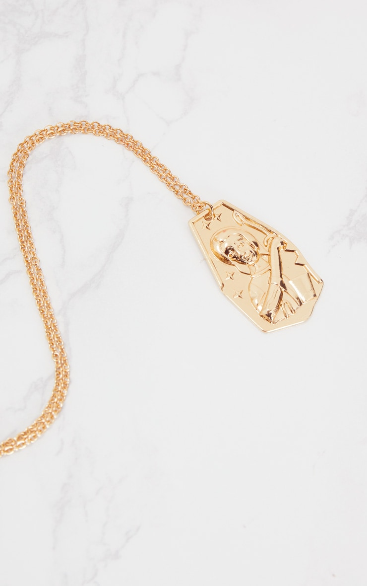 Gold Renaissance Ancient Plate Pendant Necklace 4