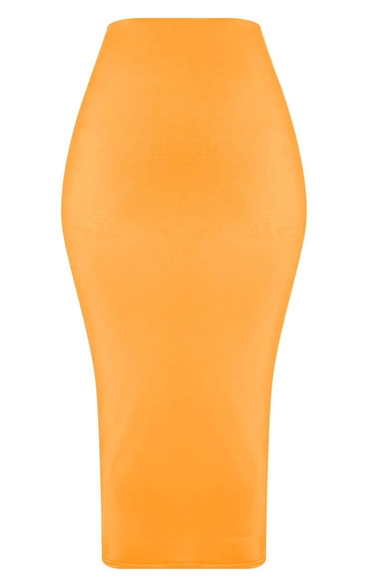 Hot Orange Second Skin Slinky Longline Midi Skirt 5