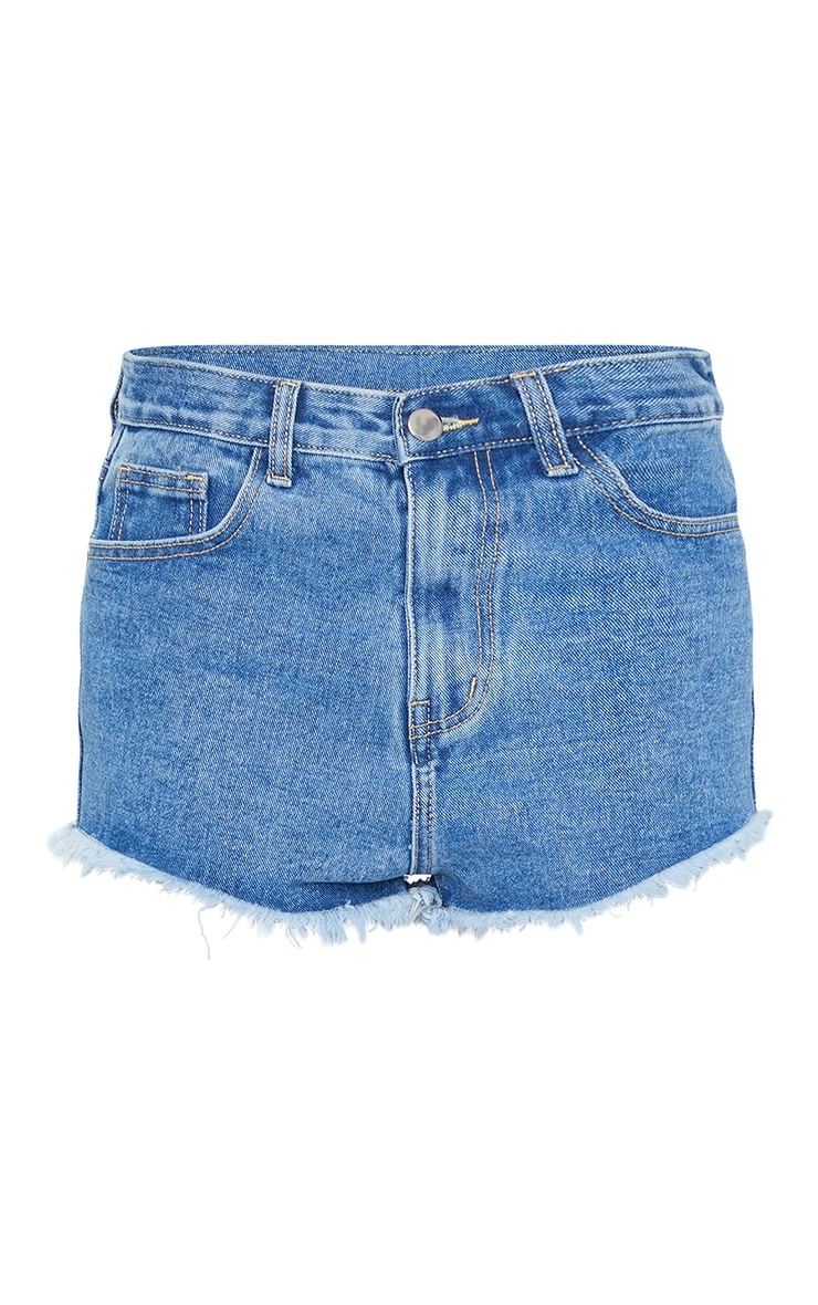 PRETTYLITTLETHING Mid Blue Wash Frayed Hem Denim Shorts 6