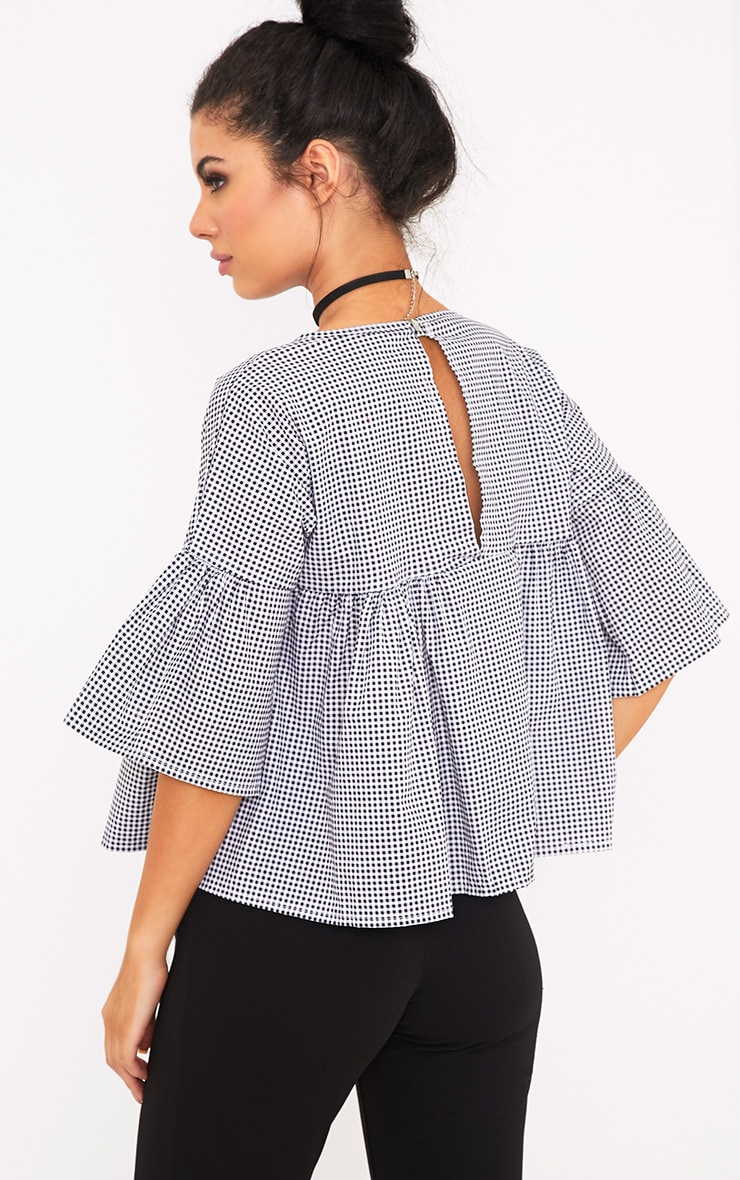 Alexiah Black Gingham Frill Sleeve Blouse 2