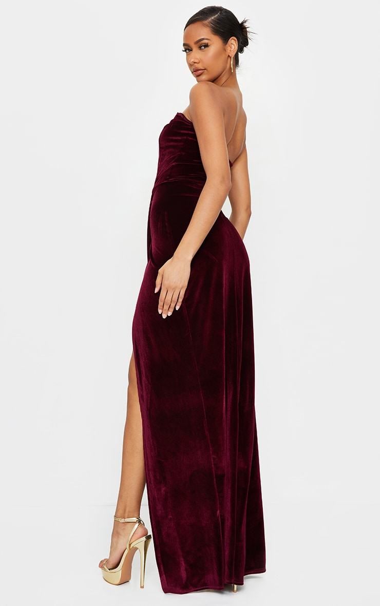 Burgundy Velvet Draped Wrap Detail Bandeau Maxi Dress 2