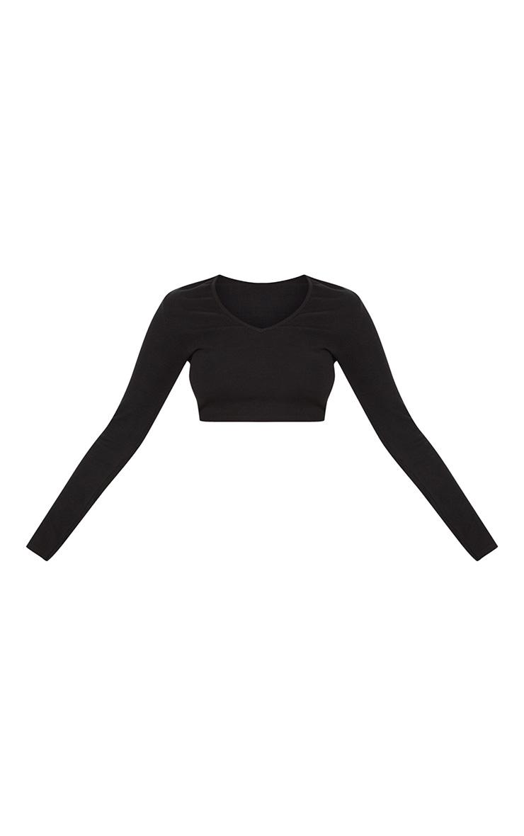 Black V Neck Rib Long Sleeve Top 3