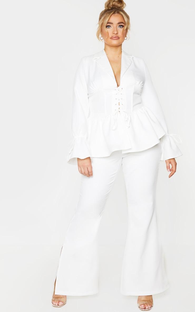 Plus White Corset Waist Blazer 4