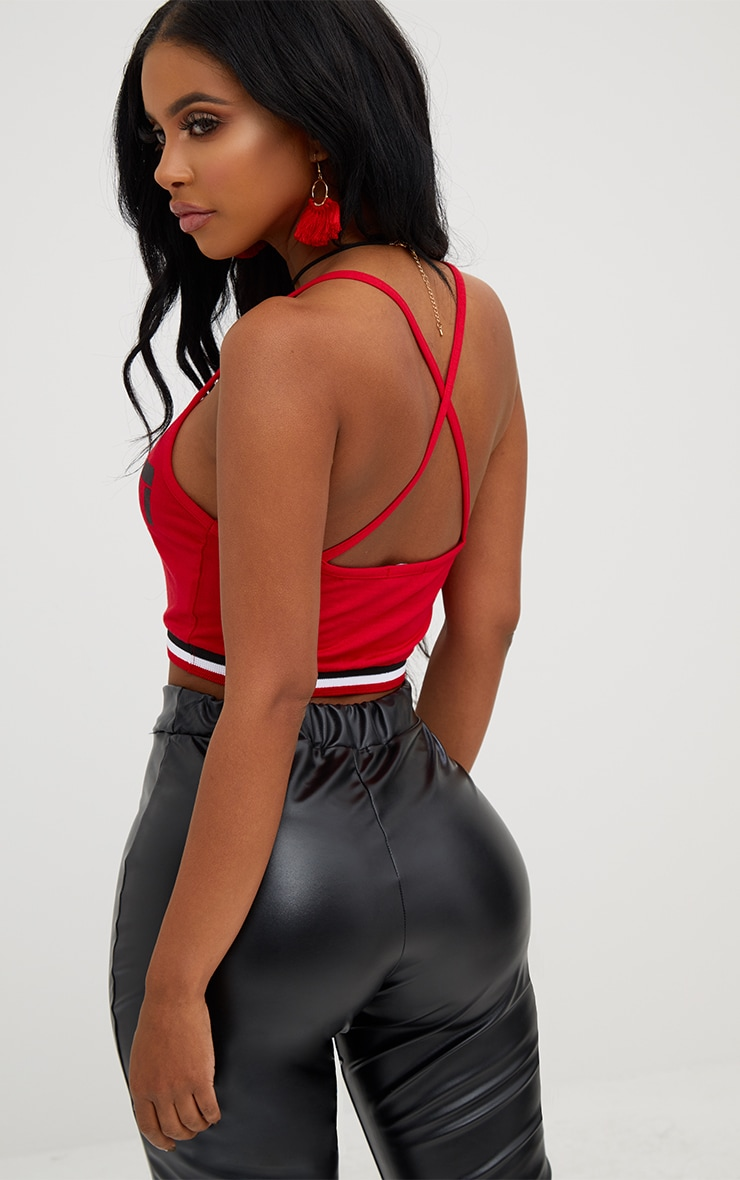 Shape Red Caution Sports Rib Crop Top 2