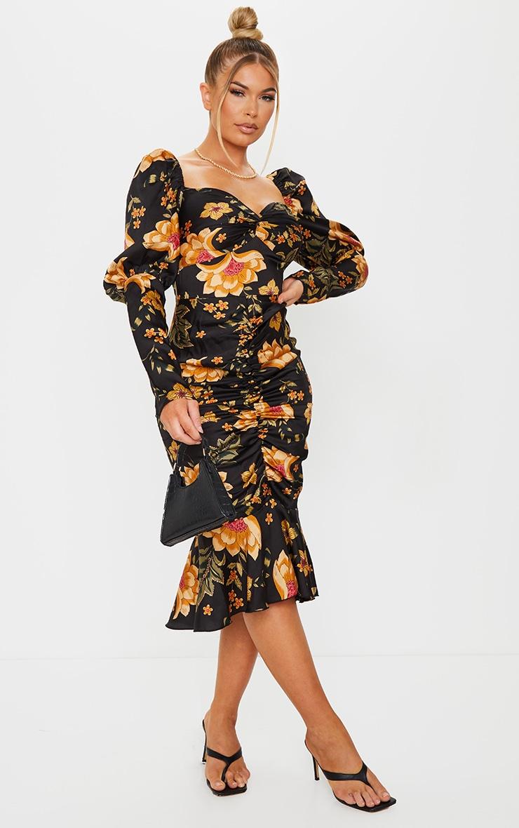 Black Floral Puff Sleeve Ruched Detail Frill Hem Midi Dress 3