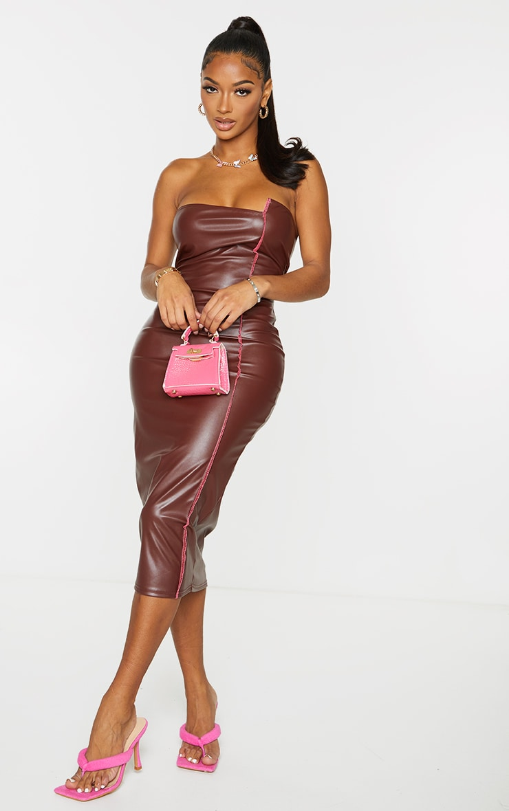 Shape Chocolate PU Overlock Detail Bandeau Midi Dress 3