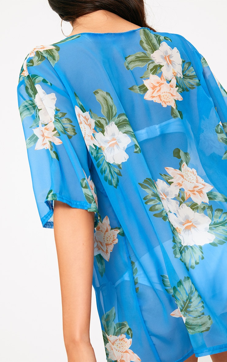 Blue Floral Print Sheer Beach Cover Up  5