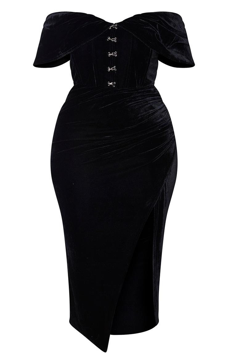 Plus Black Velvet Eyelet Detail Bardot Midi Dress 5