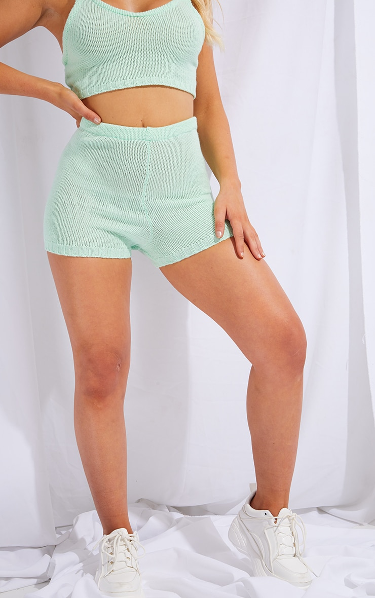 Mint Knitted High Waisted Shorts 2