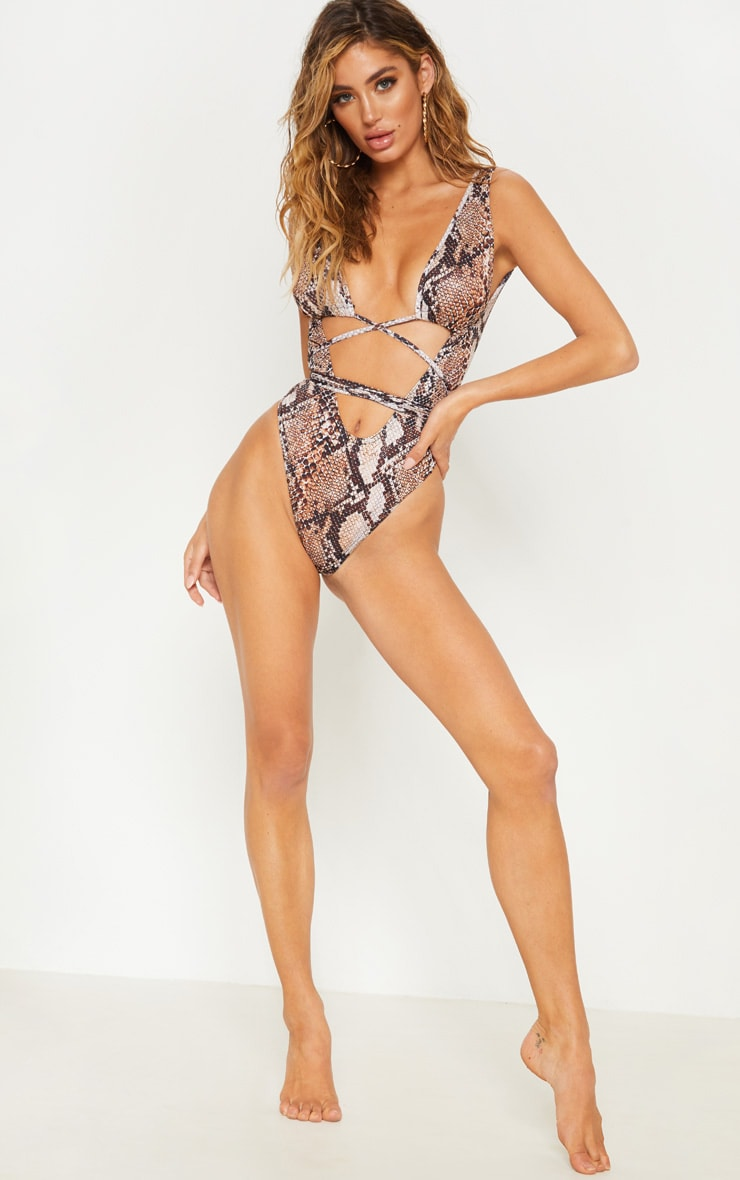 Brown Snake Cut Out Wrap Around Swimsuit 4