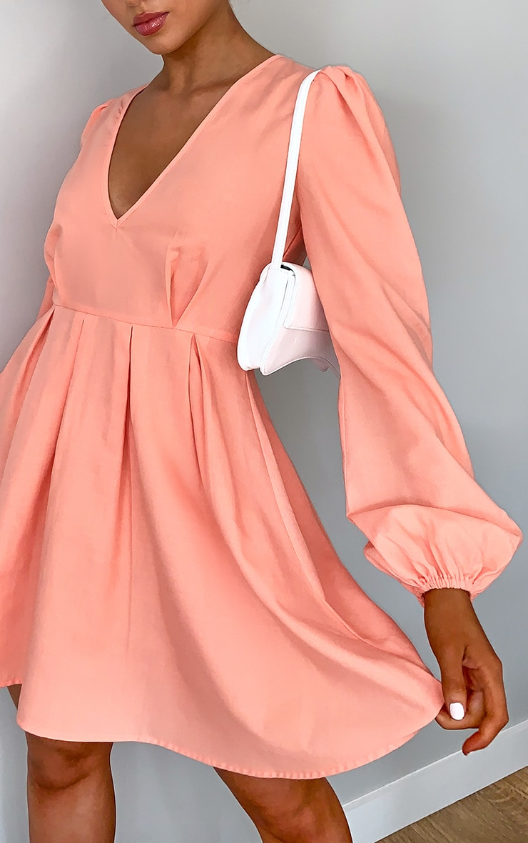 Peach Linen Mix Pleated Detail Skater Dress 4