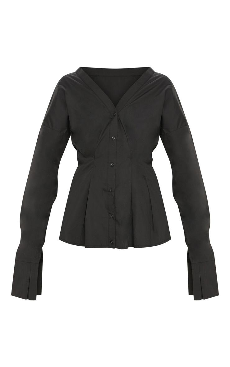Black Ruched Waist Oversized Shirt 3