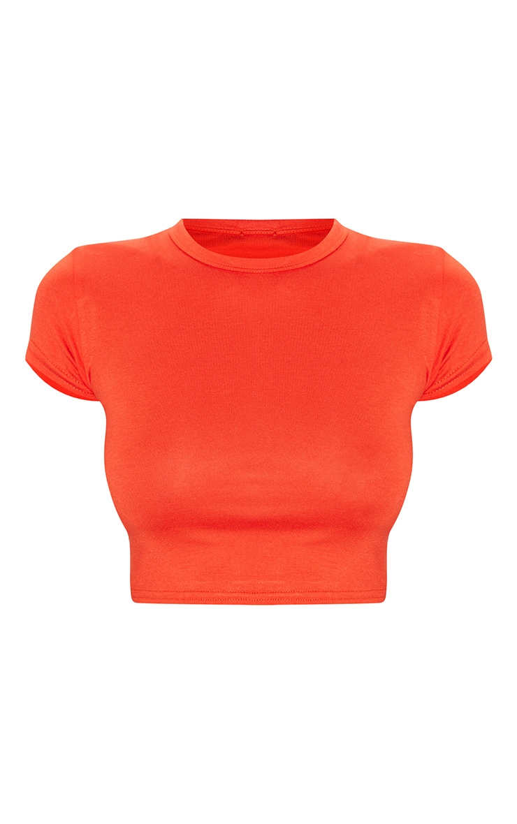 Basic Orange Short Sleeve Crop T Shirt 3