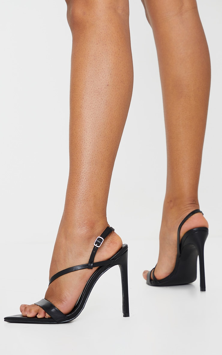Black Wide Fit Asymmetric Strap Point Toe Heeled Sandal 2