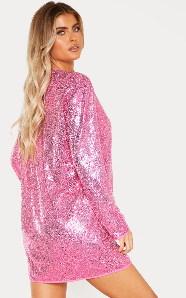 Tall Bright Pink Sequin Long Sleeve Shift Dress 2