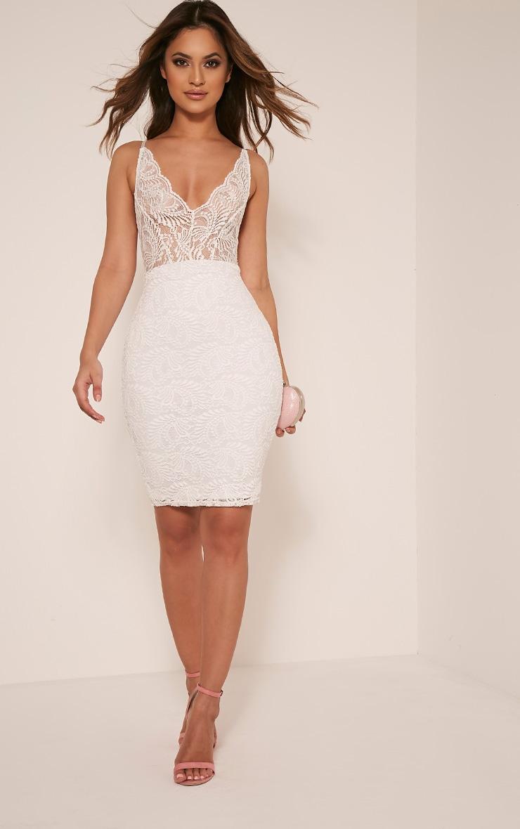 Lucila White Sheer Lace Bodycon Dress 5