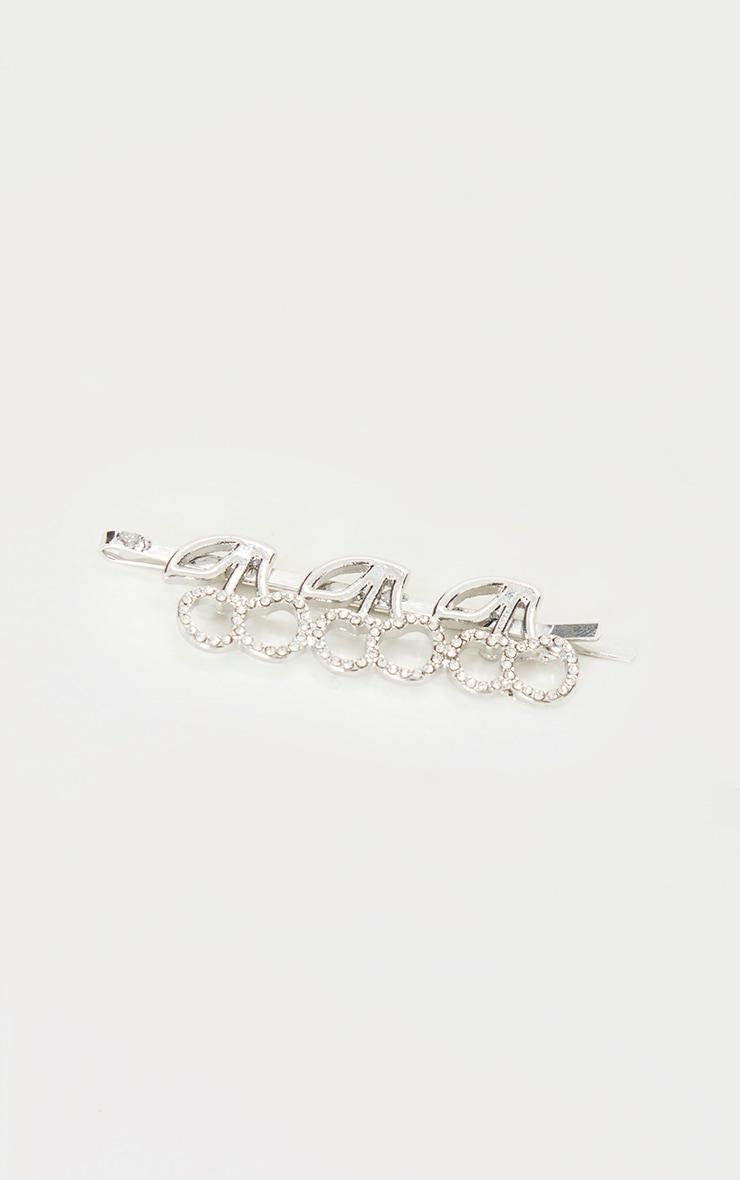 Silver Diamante Cherry Hair Slide 3