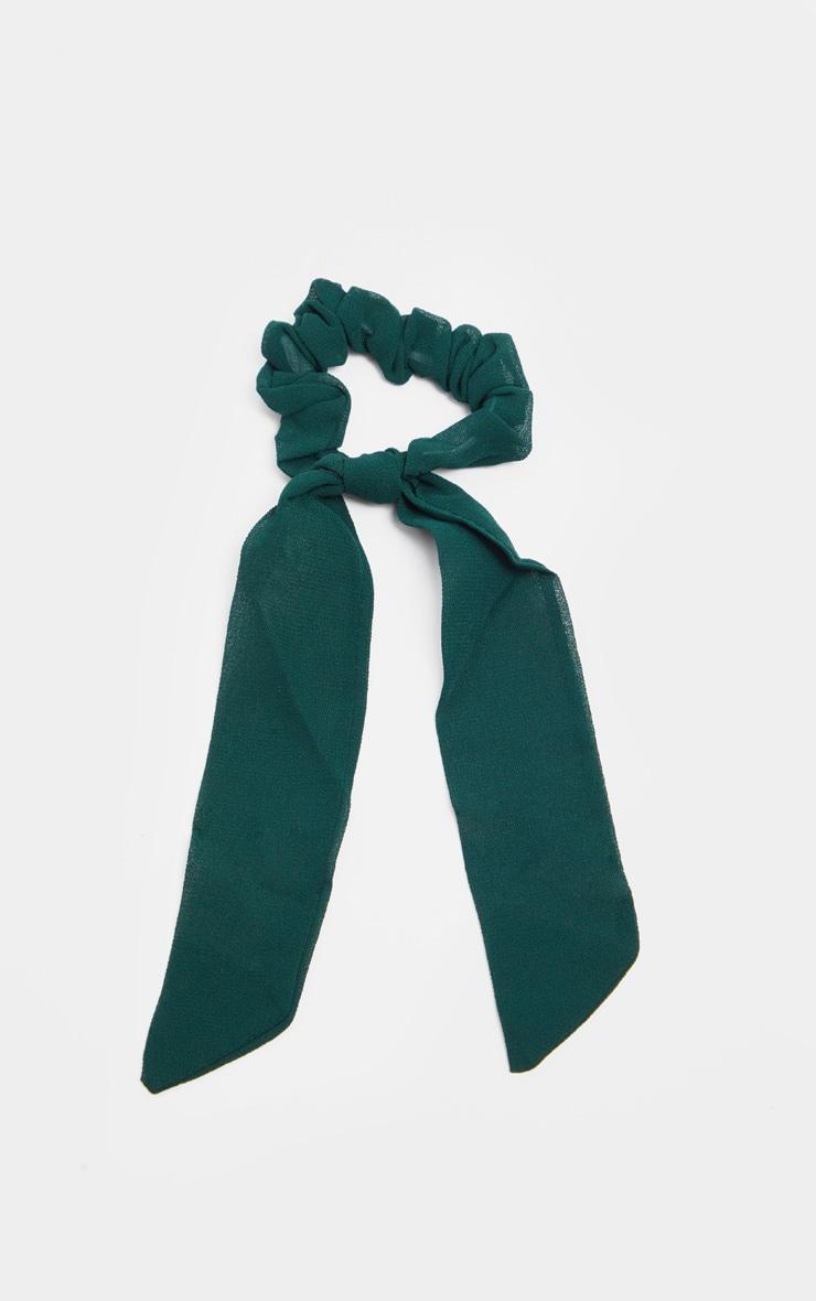 Chouchou bleu sarcelle style foulard 2